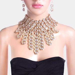 crystal  pearl fringe bib choker necklace earring